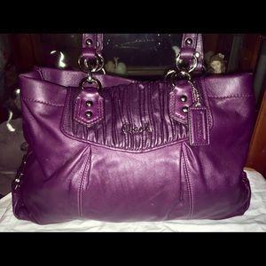 Coach Leather Purple Tote Shoulder Bag